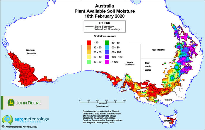 National soil moisture maps: February 2020