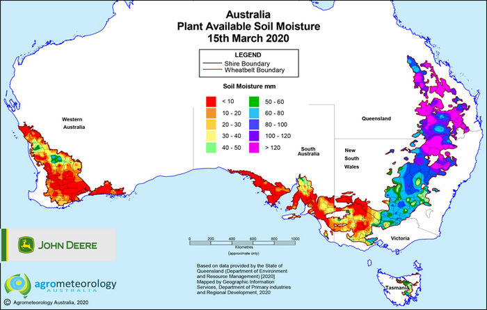 National soil moisture maps: March 2020