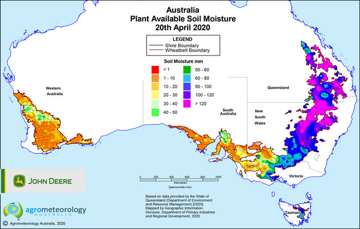 National soil moisture maps: April 2020