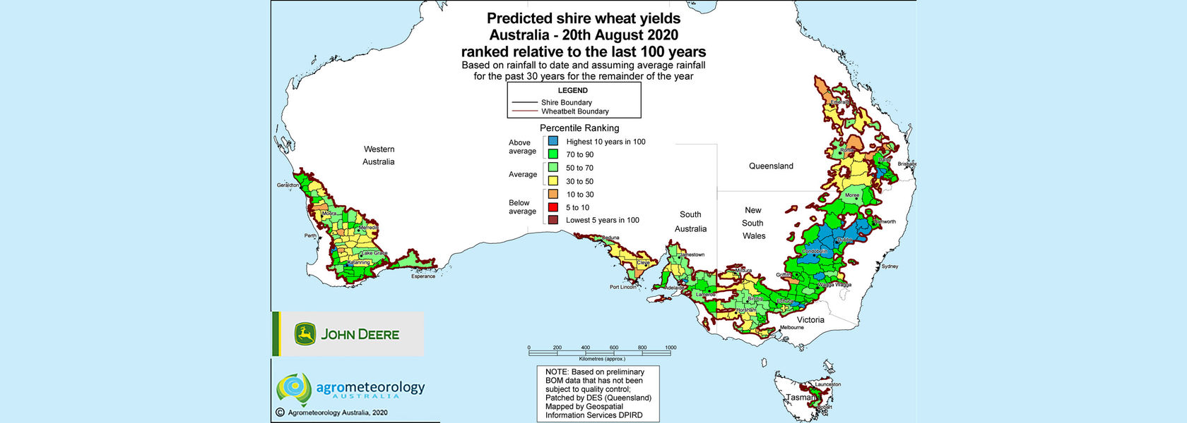 Yield prediction map: August 2020