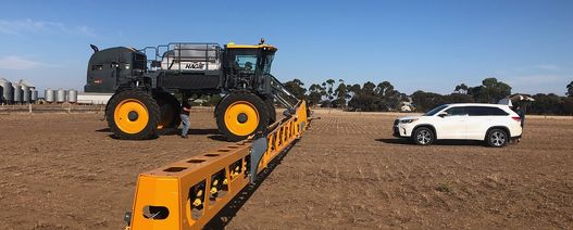 Research team testing big sprayers