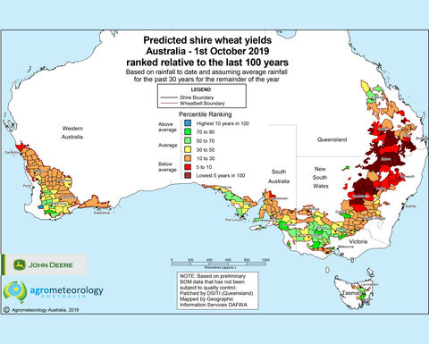 Predicted crop yield maps: October 2019