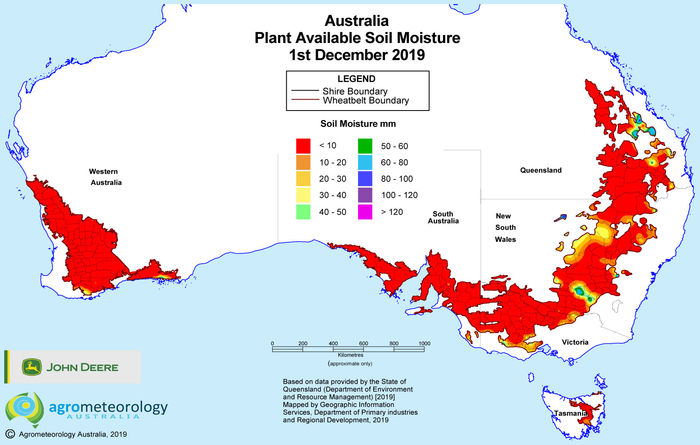 National soil moisture maps: December 2019