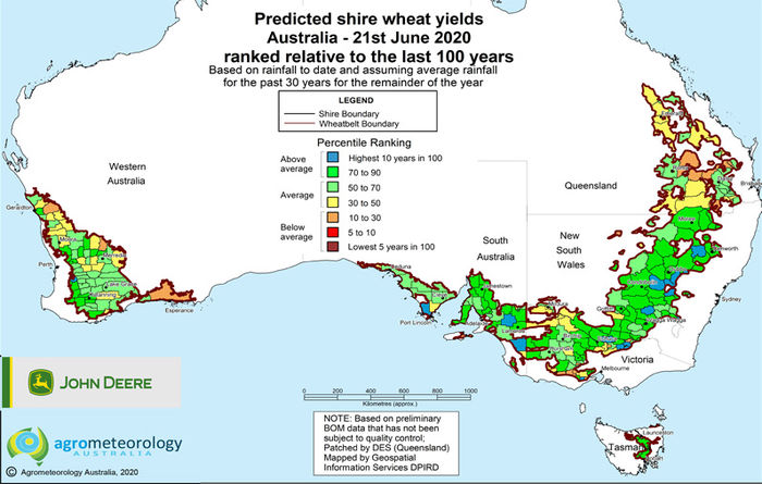 Yield prediction map: June 2020
