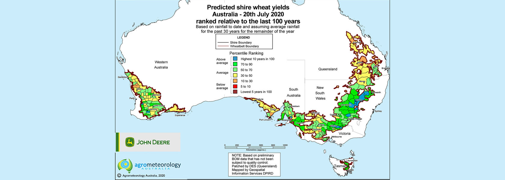 Yield prediction map: July 2020