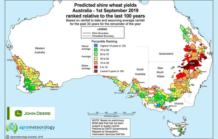 Predicted crop yield maps: September 2019